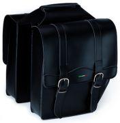 Doppel Packtasche Kunst Leder schwarz abgeschrägt