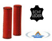 Lenkergriffe ECHTLEDER rot Nappaleder 120 / 120 mm