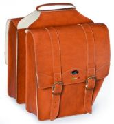 Doppel Packtasche Kunst Leder braun abgeschrägt