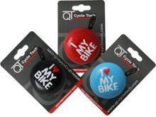 Glocke Ding - Dong I Love my Bike 60 mm blau auf Karte