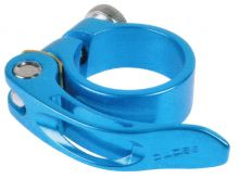 Sattelklemmschelle 31,8 mm blau anodisiert mit Schnellspannhebel