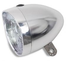 Batterie Scheinwerfer LYNX 3 LED Retro silber mit Batterien